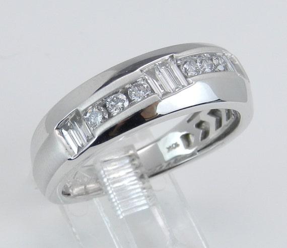 Men's Diamond Wedding Ring Unique Anniversary Band White Gold Size 10.25
