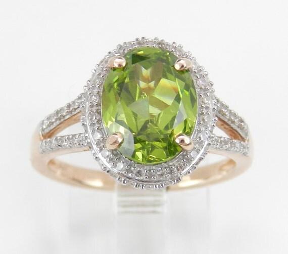 Diamond Emerald Peridot Halo Engagement Ring Promise Rose Gold Size 7 August Gem