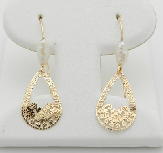 Freshwater Pearl Dangle Filigree Earrings 14K Yellow Gold June Birthstone