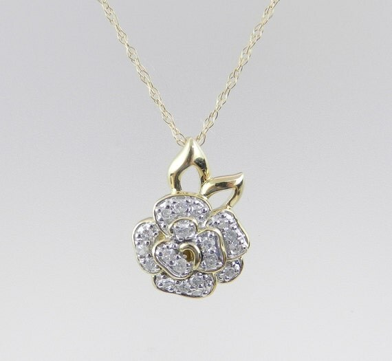 """Diamond Cluster Flower Rose Pendant Yellow Gold Wedding Necklace Chain 18"""""""