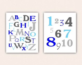 Alphabet and Numbers Print Set - Blue and Gray ABC's and 123's for Kid's Bedroom - Custom Nursery Art (5003)