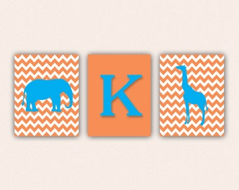 Chevron Elephant Monogram and Giraffe Print Set - Turquoise and Orange Wall Art - Zoo or Jungle Nursery Art (5005)