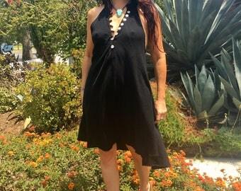 Gauze Cotton Mini Dress // Boho Hippie Gypsy// One of a Kind Dress// Gauzy Mini Dress