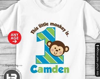Personalized 1st Birthday Monkey Birthday Shirt or Monkey Bodysuit - Made FOR ANY AGE- Monkey First Birthday Shirt