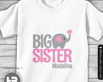 Big Sister Shirt - Big Sister Gift - Big Sister Announcement Shirt - Big Sister Outfit - I'm Going to Be A Big Sister - Pink Elephant