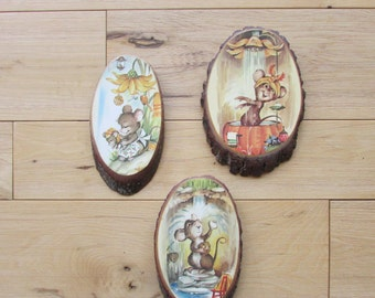 Wooden Mice J Special Wooden Wall Hangings Set of Three