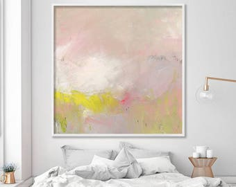 """ABSTRACT painting Giclee Fine Art Print, up to 40x40"""", modern Painting Abstract Art, Acrylic Painting light pink yellow"""
