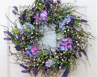 Purple Hydrangea and Pip Berry Wreath - Spring Wreath - Shabby Chic - Summer Door Wreath - Spring Front Door Wreath - Easter Wreaths