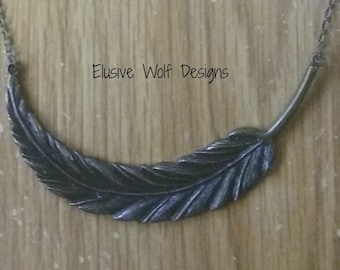 SALE - Antique Bronze Feather Necklace - Cute - Stylish - Popular Necklaces - Gift Idea Necklaces -Elusive Wolf