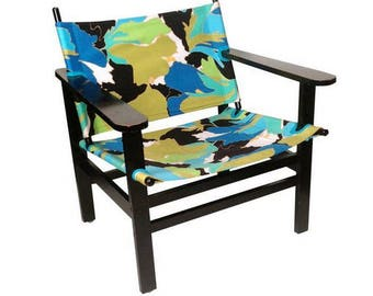 MCM Style Lounge Chair in Black Aqua Seafoam and Avocado