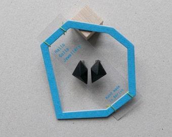 Black minimalist geometric triangle stud silver earrings