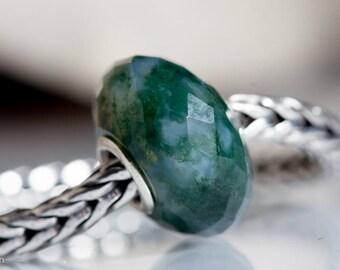 Gemstone Cloudy Moss  Agate bead fits charm bracelets small core