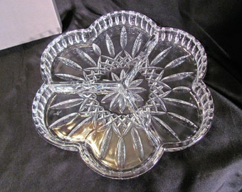 Waterford Crystal Lismore 3 Section/Divided Condiment Serving Dish NIB