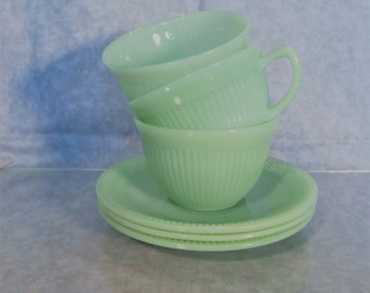 Fire King Jadeite Jane Ray Pattern Cups and Saucers 3 Sets.