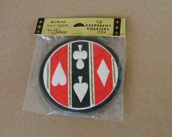 Vintage Gibson Party Drink Absorbent Coasters Playing Card Suits