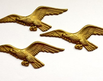 Brass Birds, Brass Eagles, Bird Jewelry, Jewelry Making Supplies, Patina Brass, US Made, Nickel Free, Bsue Boutiques, 22 x 64mm, Item0504