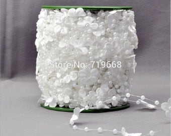 white  flower Pearl Beaded Garland for Wedding Decoration Table Centerpieces Chandelier