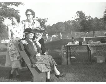 """Vintage Photo """"Old Friends Are The Best Friends"""" Sweet Older Ladies Great Hats Picnic Tennis Court Found Vernacular Photo"""