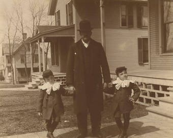 """Vintage Photo """"Little Lord Flauntleroy"""" Buster Brown Suit Little Boys 1880's Found Vernacular Photos"""