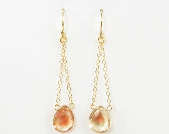 Sunstone Earrings, Oregon Sunstone, Pale Yellow Earrings, Swing Earrings, Trapeze Earrings, Yellow Pink Gemstone Earrings |EC2-40