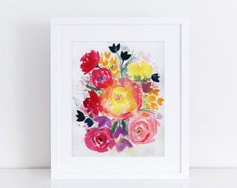 Flowers Watercolor, Modern Art, Fine Art Print, Print, Ink, Minimalist, Garden Floral, Abstract Art, Bohemian