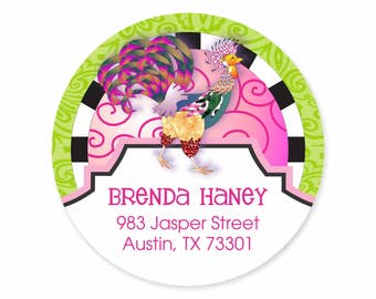 Rooster Personalized Address Labels Stickers / Rooster & Swirls / Country Chic
