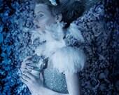 Black Friday Costume neckpiece, ivory neck corset, ivory swan necklace, ivory feathers
