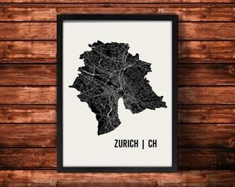 Zurich Map Art Print | Zurich Print | Zurich Art Print | Zurich Poster | Zurich Gift | Wall Art