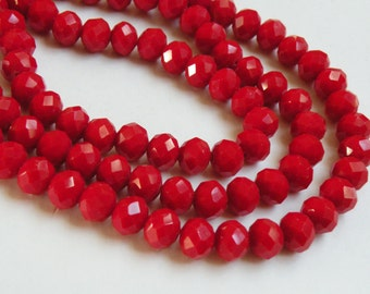 Christmas Red faceted rondelles 10x8mm full strand bright siam red crystal PF001-18-5