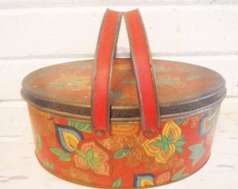 Oval tin lidded box basket style floral red yellow green shabby vintage 1940's storage display