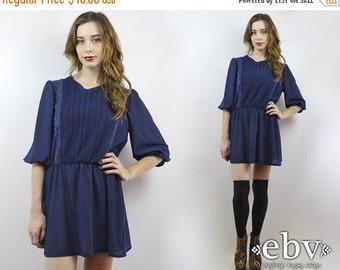 Navy Dress Secretary Dress Lace Dress 80s Mini Dress Puff Sleeve Dress Navy Blue Dress 1980s Dress Vintage 80s Navy Blue Day Dress M L