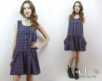 90s Plaid Dress Plaid Babydoll Dress 90s Grunge Dress Plaid Mini Dress 1990s Dress 90s Dress 90s Mini Dress Blue Plaid Dress Plaid Flannel