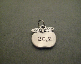 26.2 BIG APPLE Charm - ONE (1) Pewter Apple Charm Hand Stamped with 26.2 with Gunmetal Jump Ring