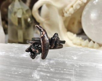 Made to Order bone stacking ring, copper ring, minimalist jewelry, goth, dark, skull stacking ring, bone ring, midi ring