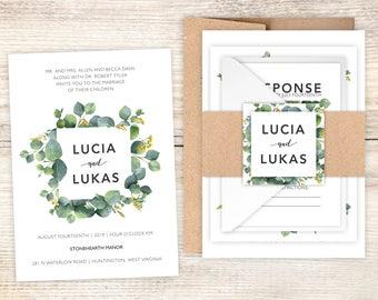 Wedding Invitations - DEPOSIT TO START Eucalyptus Suite - Custom Wedding Invites - Woodland Wedding Invitations - Garden Wedding Invitation