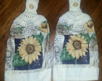 SUNFLOWER KITCHEN TOWELS Set Of Two With Crochet Cream Top