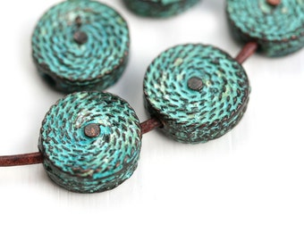 15mm Round metal woven beads Verdigris Green Patina Copper tablet coin shape greek rustic beads, Lead Free metal casting - 2Pc - F519