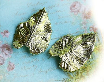 30%OFF SALE Wavy Leaf stampings, Raw brass, two leaves, pendant, leaf charm, 26mm - 2Pc - F092