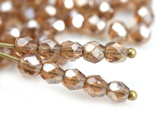 4mm Lustered Smokey Topaz Czech glass beads, Fire polished round faceted spacers - 50Pc - 0322