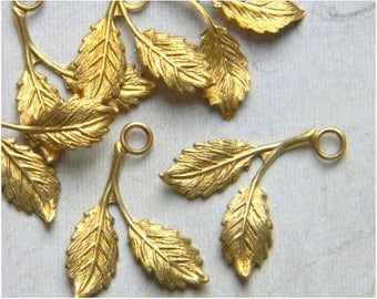 Raw Brass Leaf, Brass Leaves, Leaf Charm, Wedding Headpiece Supply, Leaf Drop, Leaf Stamping, 16mm x 21mm - 6pcs. (r144)