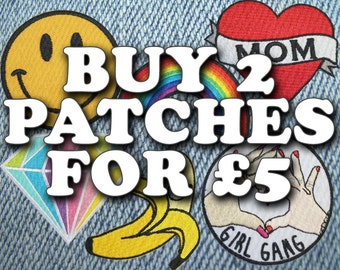 "Buy 2 Patches for GBP 5.00! - See ""Item Details"" for more info - Excludes holographic patches - Iron On Patch Embroidery"