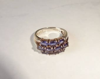 Vintage Amethyst Cluster Ring Sterling Silver Ring Size 6 Multistone Gemstone