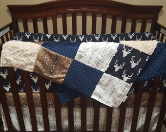Woodland Boy Crib Bedding- Navy Buck, Deer Skin Minky, White Tan Arrow, Ivory Crushed Minky, and Navy Crib Bedding Ensemble