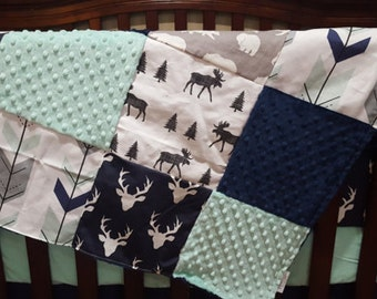 Buck Baby Blanket - Navy Buck, Fletching Arrows, Moose Trot, Gray Bear, Mint Minky, and Navy Minky Patchwork Baby Blanket