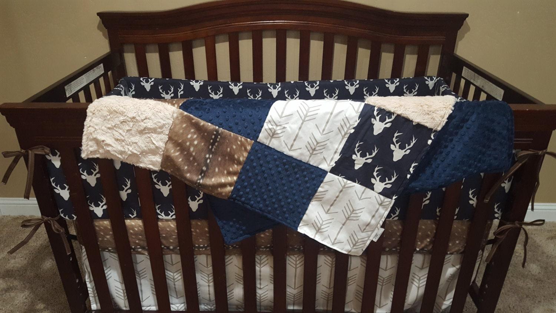 Deer Crib Bedding For Boys : Woodland boy crib bedding navy buck deer skin minky