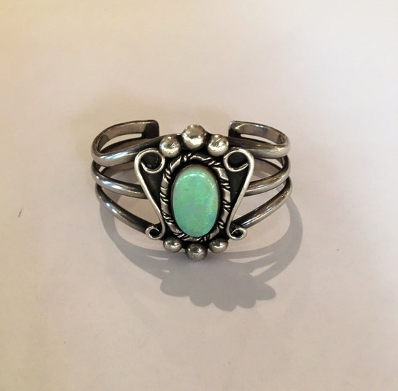 Vintage 1980s Sterling Silver and Opal Cuff Bracelet