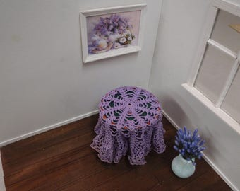 Dollhouse shabby doily, tablecloth  French style