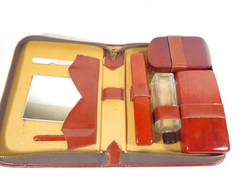 Mid Century Leather Toiletry Travel Case - Travel Grooming Case