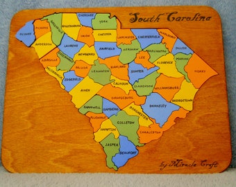 Wooden South Carolina State Puzzle