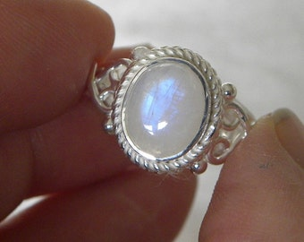 Moonstone Ring Handmade Ring Blue Flash 10x8mm Natural Gemstone Ring Sterling Silver Ring Size 7 - 10 Take 20% Off Rainbow Moonstone Jewelry